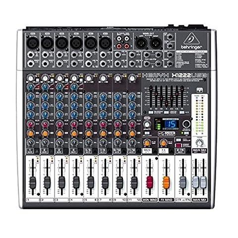 Behringer XENYX X1222USB 16-Kanal 2/2 Bus Mischpult mit XENYX Mic Preamps, 1-knob Kompressoren, 24-bit Multi-FX und USB Audio (Behringer Musikinstrumente Mic)