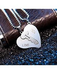 Hosaire 2 Pieza Acero Inoxidable Colgante Collar Llave Corazón Amor Love San valentin Pareja Conjunto Set