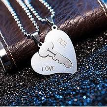 Hosaire 2 Pieza Acero Inoxidable Colgante Collar Llave Corazón Amor Love San valentin Pareja Conjunto Set Hombre ,Cadena 20-50cm