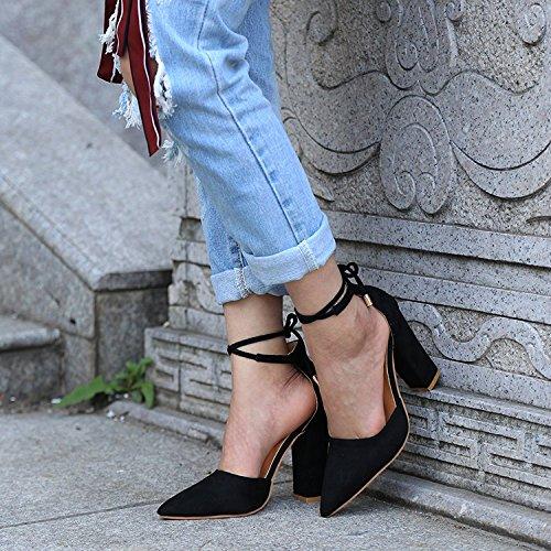 Minetom Donna Estate Scarpe Col Tacco Stiletto Elegante Cinturino Caviglia Tacco Alto Pompe Partito Sandali Con Lacci Nero