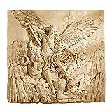 Design Toscano Fregio di Parete Scultorea di Arcangelo St. Michael, Allora, 9x56x53.5 cm