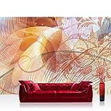 Vlies Fototapete 416x254cm PREMIUM PLUS Wand Foto Tapete Wand Bild Vliestapete - Ornamente Tapete Ranke Palme Blätter Schnörkel rosa - no. 2440