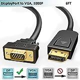 FOINNEX Cavo DisplayPort VGA 1,8m,Adattatore DP 1.2 a VGA Cavetto,Convertitore Maschio Display Port to VGA Adapter Filo,1080P