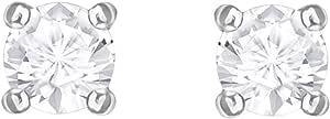 Swarovski Orecchini Attract Round, Bianco, Placcatura Rodio