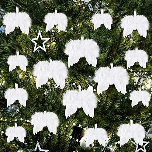 FEPITO 16 Stücke Weiß Weihnachtsschmuck Fantasie Engel Weiße Feder Flügel Ornament für Weihnachtsfeier Dekoration DIY Handwerk
