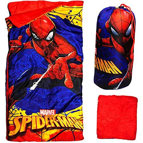 alles-meine.de GmbH 2 in 1 : Schlafsack & XL Decke - 140 cm - Spider-Man - komplett aufklappbar - Kinder Camping - sehr leicht - warm - Kinderschlafsack / für Jungen Junge / SCHL.. (Für Kinder Spiderman-schlafsack)