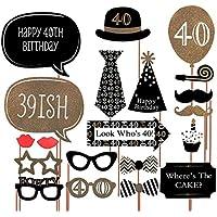 40e anniversaire Photo Booth accessoires pour les décorations de fête 21 pièces de Photo Booth accessoires kits de bricolage par Meowoo