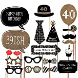 Meowoo 40 Anni Foto Props Compleanno Photo Booth Props, Konsait DIY Photo Booth Accessori Partito Maschere Foto Props con Stick, 21 Pcs Decorazioni di Compleanno Forniture, Facile Assemblaggio