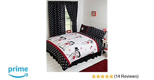 Copripiumino Matrimoniale Betty Boop.King Size Bed Betty Boop Super Star Duvet Quilt Cover Bedding Set Fully Reversible Singing And Dancing Music Notes Hearts Wink Lips Kiss Pudgy Dog