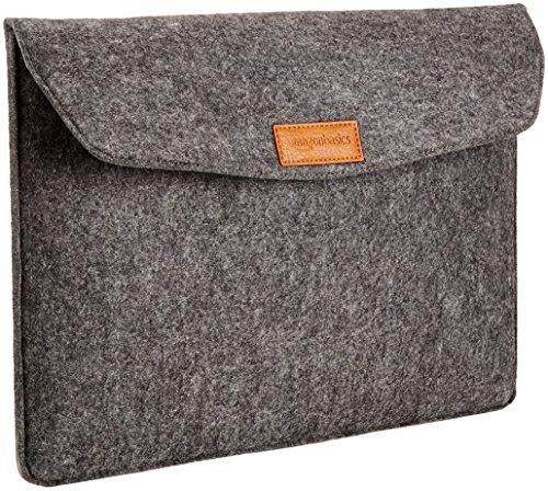 AmazonBasics Laptop-Tasche, Filz, für Displaygrößen bis 15,4 Zoll (39,1 cm), Grau