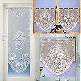 Cortina Cortina para puerta o ventana de visillo Jaquard alta calidad en blanco o multicolor–Cortina en Nueva Calidad–Ökotex... desembalar, colgar, listo. typ100, reinweiß, HxB 88x60 cm