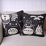 Totoro Pair of Black Totoro Series Print Decorative Pillow Covers 45CMx45CM Linen Throw Pillow Covers Sofa Cushions Black, 45cm x 45cm by Totoro