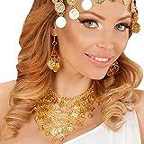 Amakando Bollywood Schmuckset - mit Ohrringen und Kette - unechter Münzschmuck Goldmünzen Accessoires Modeschmuck 1001 Nacht Arabischer Ohrschmuck Halsschmuck Orientalischer Schmuck