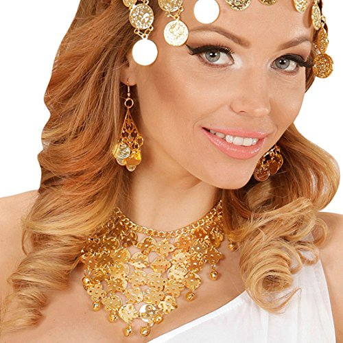 - mit Ohrringen und Kette - unechter Münzschmuck Goldmünzen Accessoires Modeschmuck 1001 Nacht Arabischer Ohrschmuck Halsschmuck Orientalischer Schmuck (Arabische Nacht Kostüm)