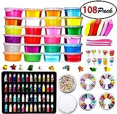 Idea Regalo - Fai da Te Fluffy Slime Kit -24 Colori Slime Kit per Ragazze Ragazzi Giocattoli con 48 Glitter in Polvere, Slime Forniture per Bambini, Include Argilla, Fette di Frutta e Utensili, Anti Stress