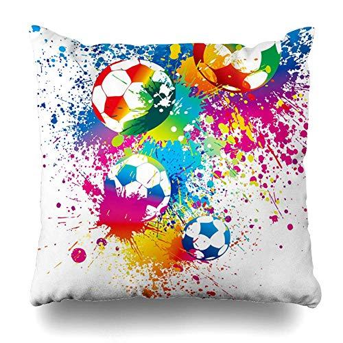Ball Fußbälle auf Weißem Fußball Tor Sport Erholung Stadion Regenbogen Training Kit Design Dribbeln mit Reißverschluss Kissenbezug Wohnkultur Quadratisch 20 Zoll -