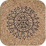Azeeda 4 x Mandala Decorativo Posavasos de Corcho Cuadrados de 10cm (CR00151483)