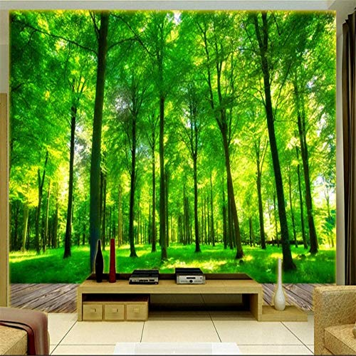 Murale Fotomurali Carta Da Parati The Murals On The Wall Wallpaper 3 D Fashion Forest Green Grass Family 3 D Tv Decorative Wallpaper Sunshine