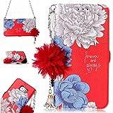Samsung Galaxy S6 Edge Hülle, Galaxy S6 Edge Schutzhülle,Alfort Lederhülle Frische Blumen Hängende Kette Wallet PU Leder Tasche Case Cover für Samsung S6 Edge Smartphone (Rotes Gänseblümchen)