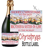 Eternal Design Merry Christmas Best Brother & Sister in Law Champagner-Flasche Label npxdcl28