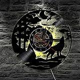 Lyy Wolf Handarbeit Led Vinyl Mauer Uhr Farbe Veränderung Fern Steuerung Led Jahrgang Hintergrundbeleuchtung Kunst Cool Leben Zimmer Innere Dekor