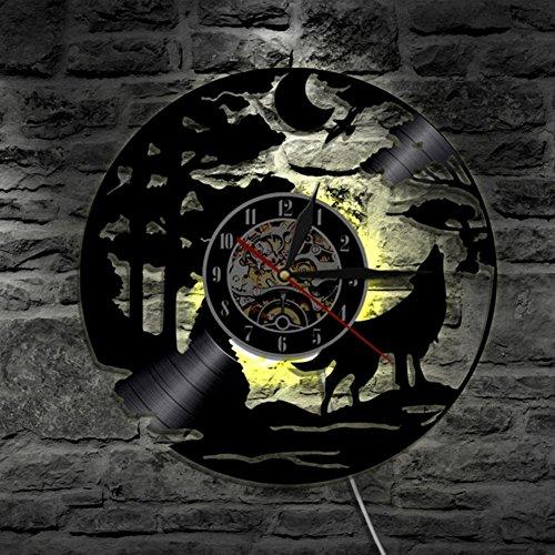 Preisvergleich Produktbild Lyy Wolf Handarbeit Led Vinyl Mauer Uhr Farbe Veränderung Fern Steuerung Led Jahrgang Hintergrundbeleuchtung Kunst Cool Leben Zimmer Innere Dekor