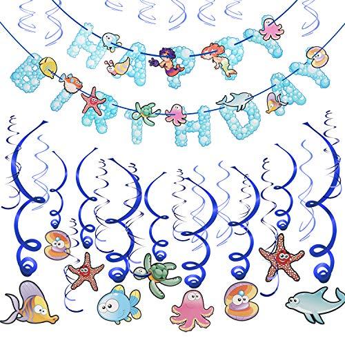 Howaf 30 teilig Fische Party deko Hängedekoration Folie Spiral Girlanden und Happy Birthday Banner für Junge und Mädchen geburtstagsdeko Kinder Geburtstags Dekoration
