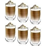 [6-Pack,350ml] DESIGN•MASTER-Première qualité - Verre isolant à double paroi, Tasse à café ou à thé, Verre thermo-isolant, Pa