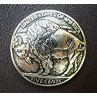 Buffalo Nickel Large Coat Buttons Metal 19mm 3/4 6 Piece Set by Dangerous Threads