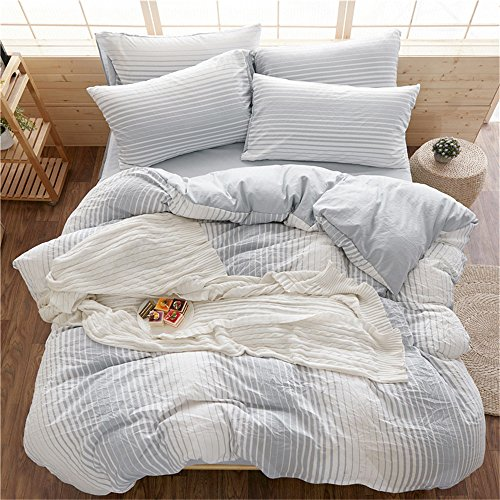 RFVBNM Bettwäsche Sets Frühling und Sommer Bettdecke decken Decke Haushalt Geschenke einfache Gitter reines Wasser waschen Luxus Bettwäsche Kit Bettdecke Decke Set Home Dekoration twin