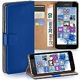 moex Nokia Lumia 530 | Hülle Blau mit Karten-Fach 360° Book Klapp-Hülle Handytasche Kunst-Leder Handyhülle für Nokia Lumia 530 Dual SIM Case Flip Cover Schutzhülle Tasche