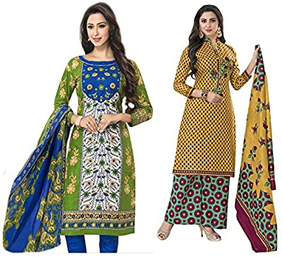 Hrinkar Green And Yellow Cotton Prints With Solid Contrasts Salwar Suit Dupatta Or Churidar Suit For Women Latest Design And Style ( Material Unstitched ) Combo Pack Of 2 Dress - HKRCMB1918
