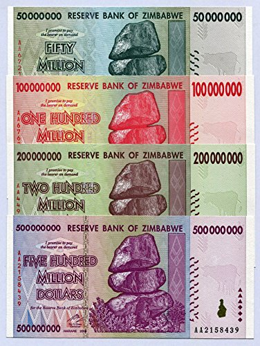 RBZ Collectibles Zimbabwe 50 100 200 500 Million Dollars 2008 P79-P82 UNC Currency Bills
