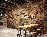 Yosot Yosot Personnalisé Papier Peint Vintage Bois Grain Carte Du Monde Fond Mur Salon Chambre Tv Fond Mural 3D Papier Peint-140Cmx100Cm