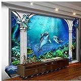 Mznm Custom Photo Wallpaper 3D Wandbilder Tapeten Sea World Marine Aquarium Römische Säule 3D-Tv-Einstellung Wand Tapete Wohnzimmer 120 X 100 Cm