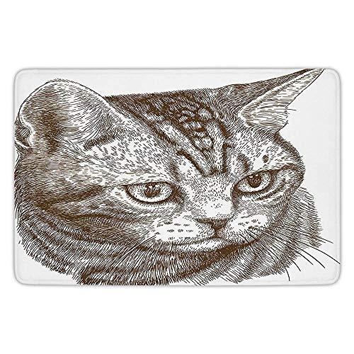 ziHeadwear Bathroom Bath Rug Kitchen Floor Mat Carpet,Cat,Portrait -