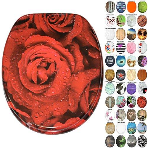 Sedile wc, grande scelta di belli sedili wc da legno robusto e di alta qualità (rose)