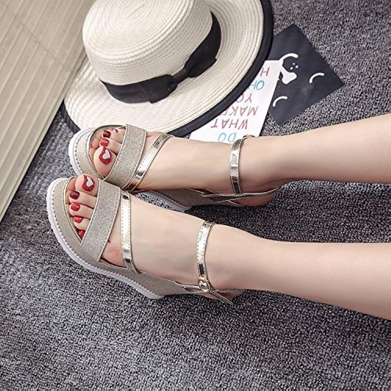 yalanshop Una Pendiente con Tacón Alto de Mujer Moda Calzado Impermeable Taiwán Captura Zapatos Salvajes, Oro, 36