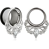 KUBOOZ (1 paio) Simple Elegant White Zircon O-ring Ear Plugs Tunnels Calibri Barella Piercing