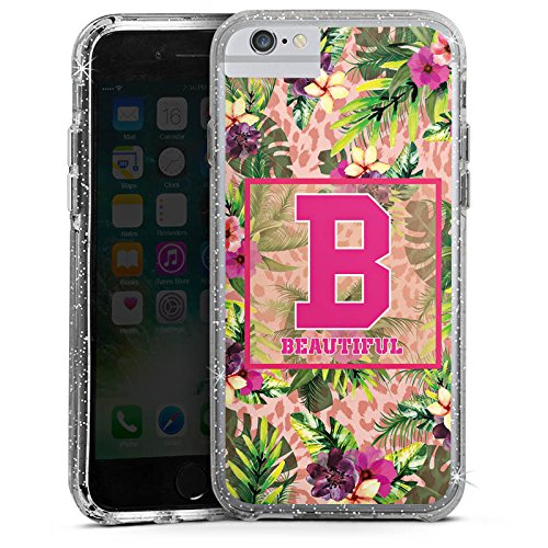 Apple iPhone 7 Plus Bumper Hülle Bumper Case Glitzer Hülle College Magnifique Beautiful Bumper Case Glitzer silber