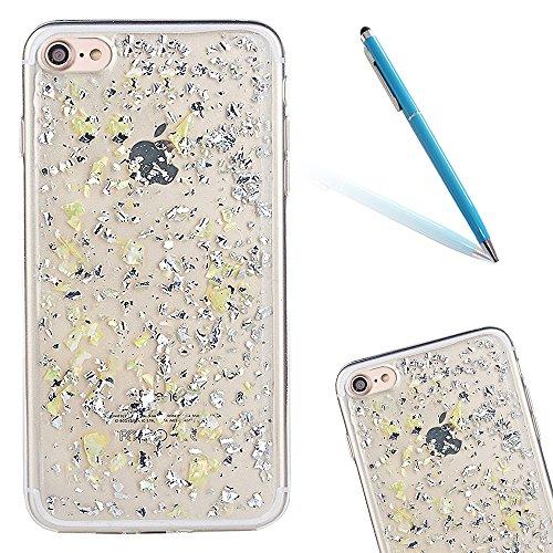 """iPhone 6Plus Hülle, Glitzer-Strass CLTPY iPhone 6sPlus Handytasche 2 in 1 Hybrid Weich Silikon Schale mit Überzug Farbig Rahmen für 5.5"""" Apple iPhone 6Plus/6sPlus (Nicht iPhone 6/6s) + 1 x Stift - Sil Gelb"""