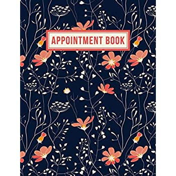 Appointment Book: 15 Minute Increments | Appointment Planner | Daily Hourly Schedule | + BONUS Client Information Pages | Peach Navy Floral