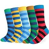 Repuhand Mens 5 pack Colourful Stripe Design Cotton Comfortable Calf Socks Sizes 6-13