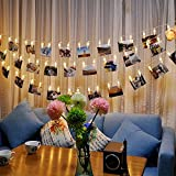 AFAITH LED Foto Aufhängen Clips Lichterkette, Foto Clip Lichterkette (40 LEDs) – Warm Weiß, perfekte Passform Raum Dekoration/Weihnachten/Party Foto Halter mit Clips TG031