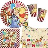 Winnie Pooh Alphabet Partyset 54tlg. Teller Becher Servietten 2 Tischdecken für 16 Kinder
