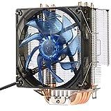 CPU Kühler mit groß 120mm Lüfter, Migvela Prozessorkühler für AMD, Intel und Power-User, Sockel bis zu 320 Watt Kühlleistung, Multkompatibel - Fünf reine Kupferwärmerohre, Lärm 20dB(A) Sehr leise