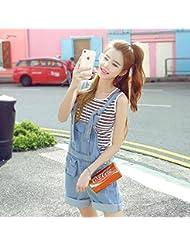 Versión coreana de verano de mameluco de volúmenes rectos delgados de mujer pantalones jeans ,M,Azul claro