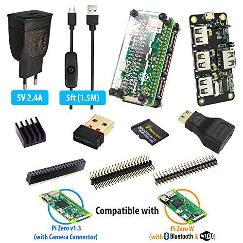 MakerSpot 4-Port USB Hub HAT für Raspberry Pi Zero W / V1.3 mit Acryl Schutz Gehäuse, 2.4A Netzteil & 1.5m Micro USB Kabel mit Ein-Aus Schalter, WLAN, 8GB MicroSD Card, Pin Headers, HDMI Adapter (Usb Raspberry Pi Hub)