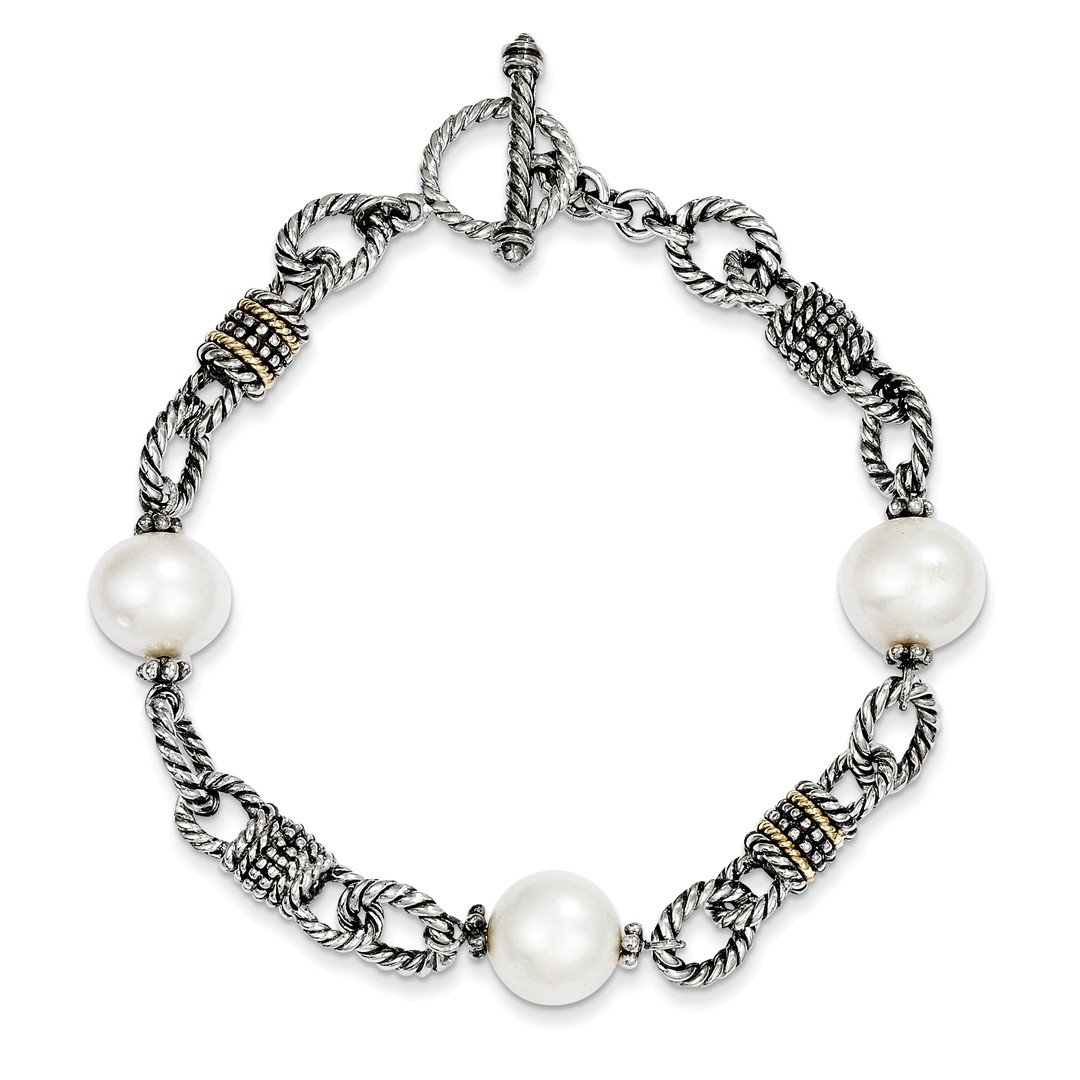 925 Sterling Silver 14k Freshwater Cultured Pearl Bracelet 7.5 Inch Fine Jewellery For Women Gifts For Her