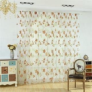 ALCYONEUS Home Decor Blumen Offset Print Pastoral Fenster Curtain Sheer (Coffee)